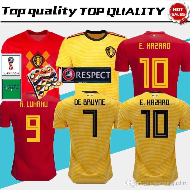 1f4d1ad98 2019 Thailand 2018 World Cup Belgium Home Away Soccer Jerseys LUKAKU  FELLAINI E.HAZARD KOMPANY DE BRUYNE Football Shirts From Soccer quality