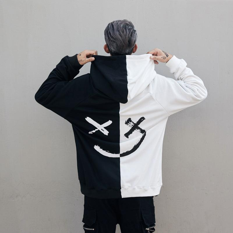 Men Hoodies Smile Smiling Print Xxxtentacion Hodies Casual Print Loose Sweatshirts Cool Black White Couple Funny Clothing