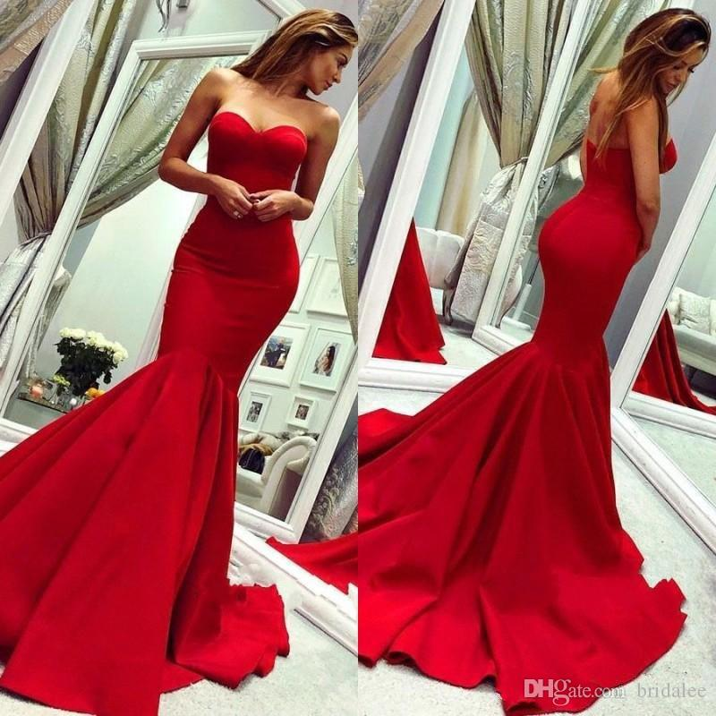2019 Red Elegant Mermaid Evening Dresses Sweep Train Formal Occasion Dresses Backless Prom Party Gowns Cheap