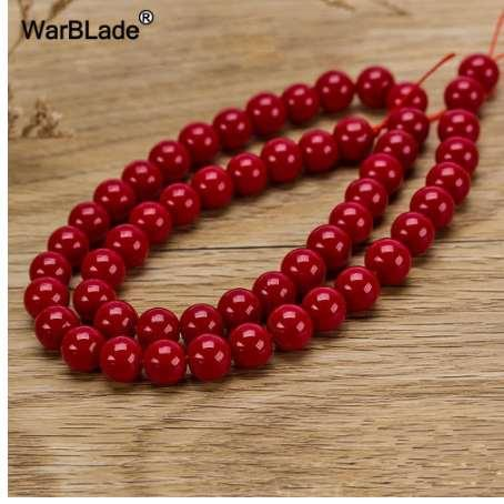 WarBLade Natural Stone Red Coral Beads Round Loose Beads 4mm 6mm 8mm 10mm For DIY Bracelet Necklace Jewelry Making Findings