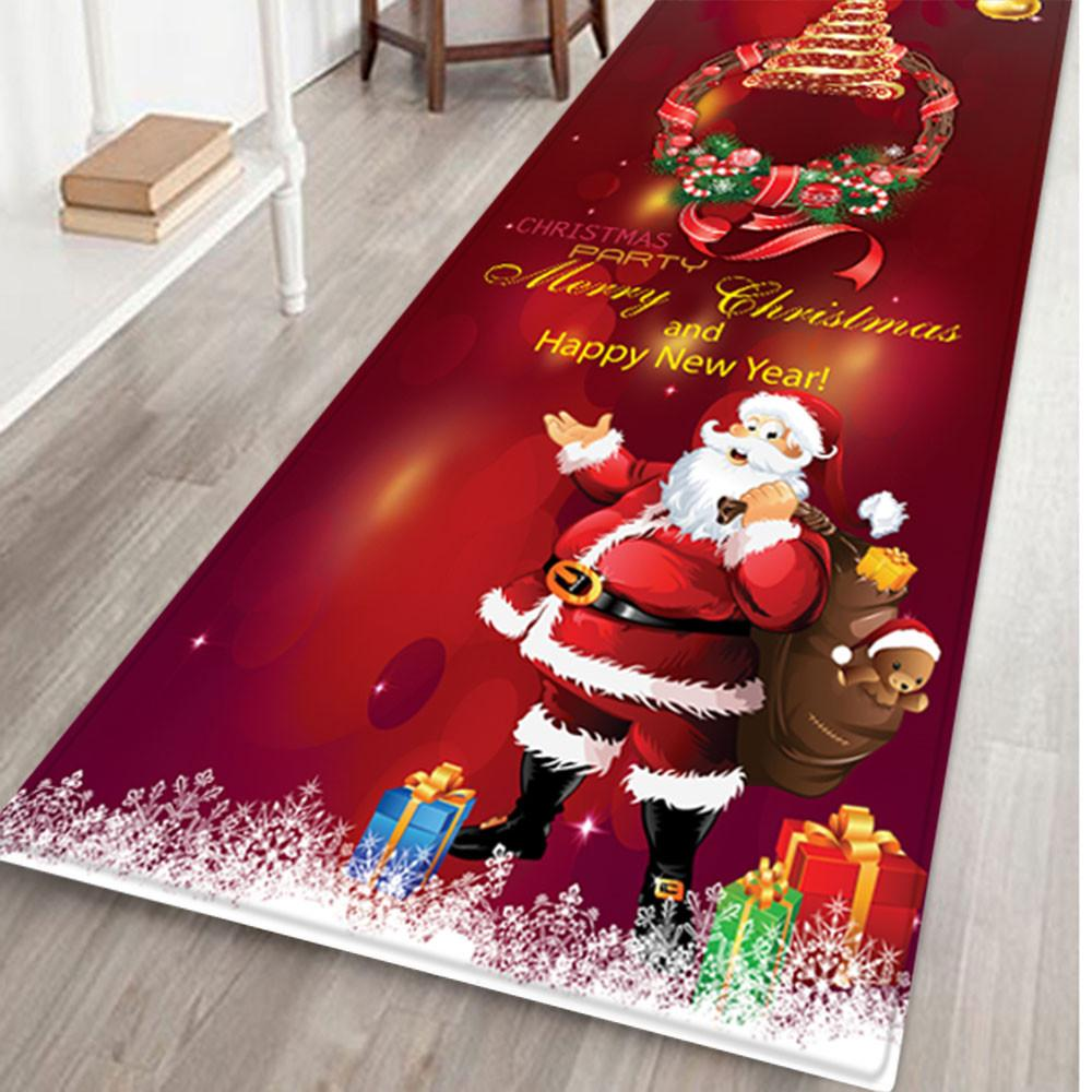 Merry Christmas Decoration Doormat Santa Claus Printing Flannel Floor Mat Non-slip Mat Christmas Home Decoration Door Mat#10