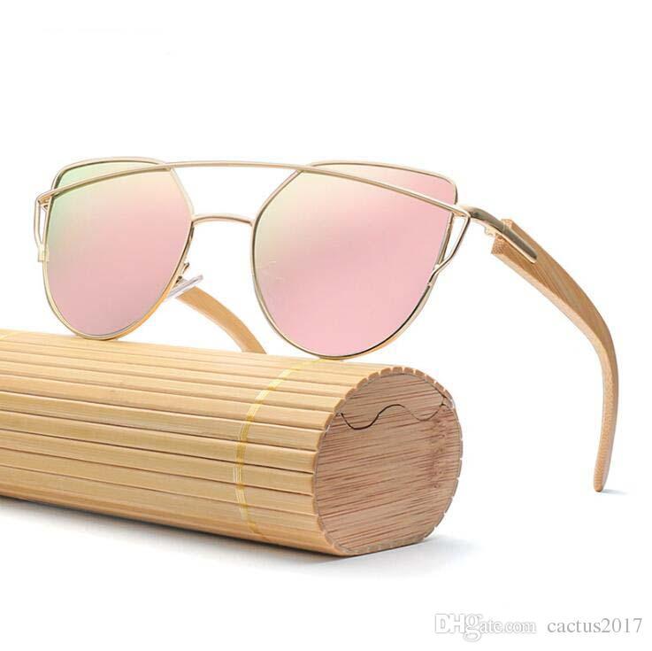 4be4cb71c2b6 Luxury Women Designer Bamboo Sunglasses 2019 High Fashion Cat Eye Sun  Glasses Pink Frame Wood Sunglasses Silver Glasses Famous Glasses Brand UK  2019 From ...
