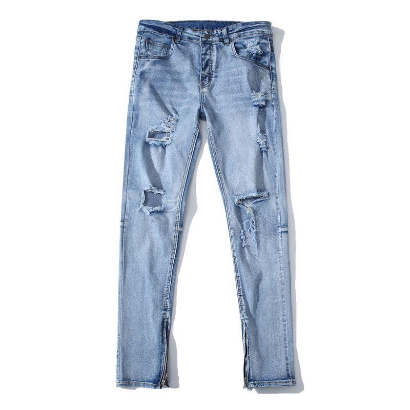 2019 New Men S High Street Jeans Men S Slim Big Hole Side Zipper