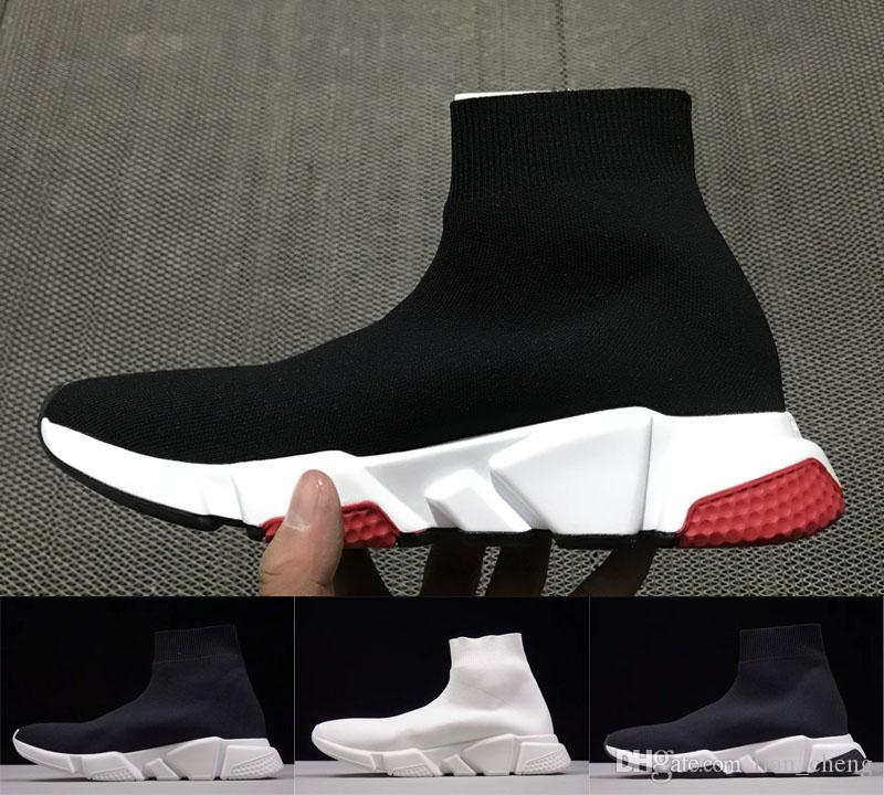 d3c7f5787b 2019 Luxury Sock Shoes Speed Trainer Off Running Shoes For Mens Womens  Triple White Black Femme Homme City Socks Sneakers White Running Shoes  Womans Running ...