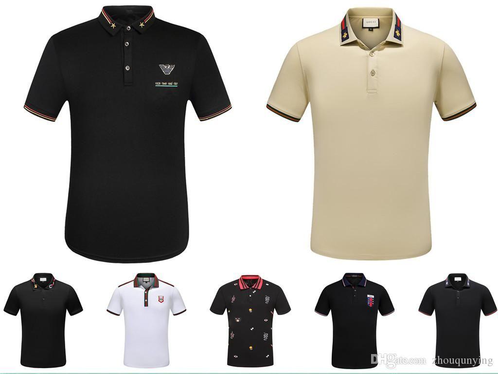 b1601ba627079 Satın Al Yeni Yüksek Kalite İlkbahar Yaz Sonbahar Rahat Polos T Shirt Tees  Polo Adam Gömlek Yılan Arı Çiçek Nakış Erkek Polos, $18.4 | DHgate.Com'da