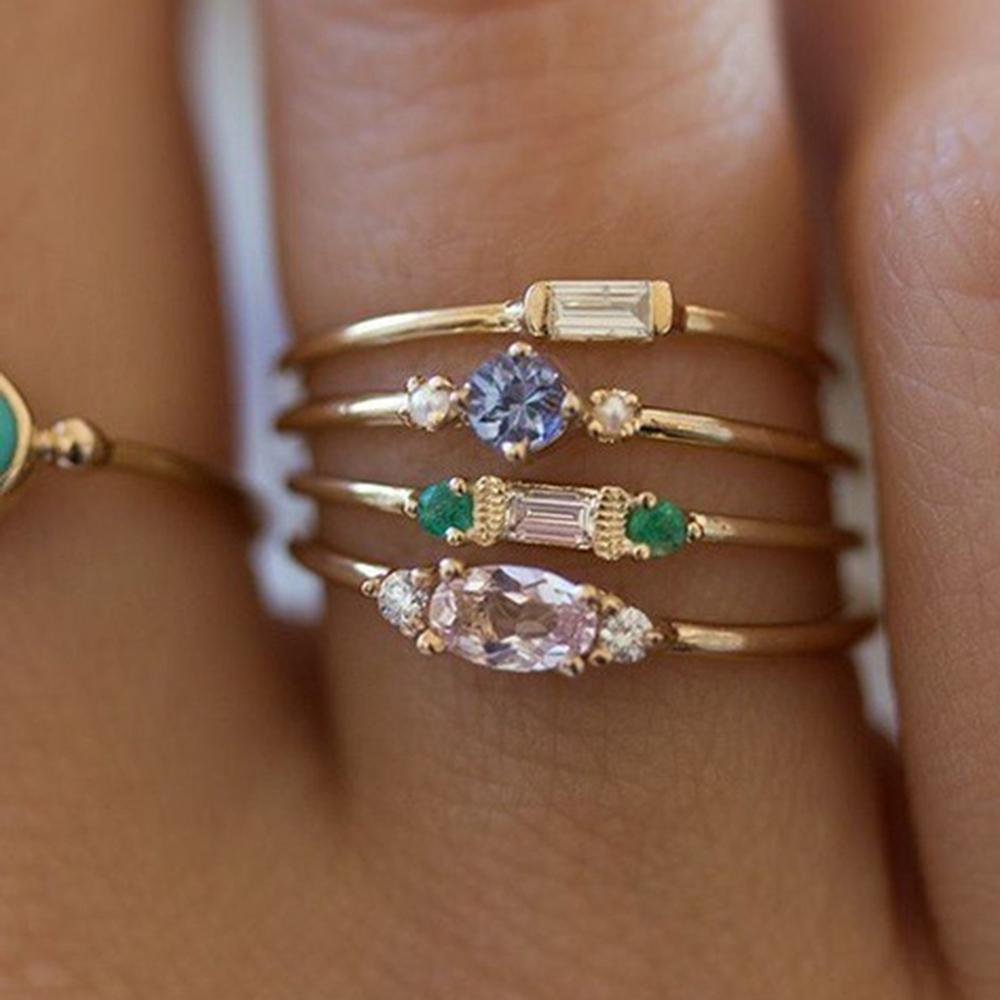 167af029bb IPARAM Crystal Zircon Gold Ring Set 2019 Vintage Bohemian Women ...