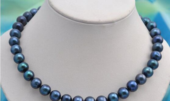 "Jewelryr Pearl Necklace 17""11mm round black fresh water pearl necklace Free Shipping"