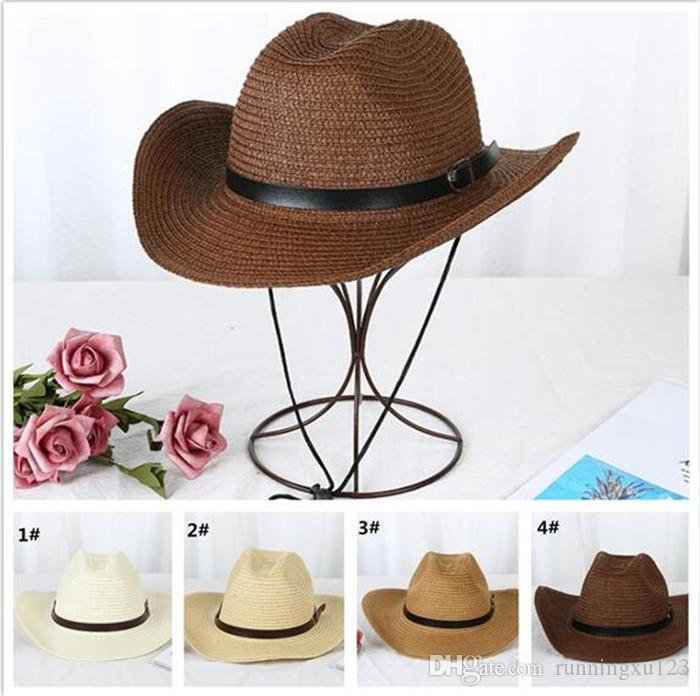 27b299d0 Straw Braid Men Cowboy Hats With Buckle Western American Mens Hat ...