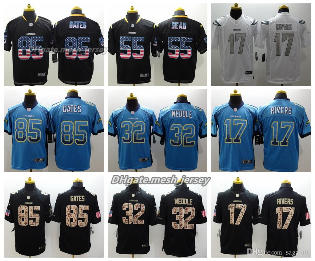 size 40 f3a8d 851e6 Men Los Angeles Chargers Jersey 17 Philip Rivers 55 Junior Seau 85 Antonio  Gates 32 Weddle Color Rush Stitching Football Jerseys