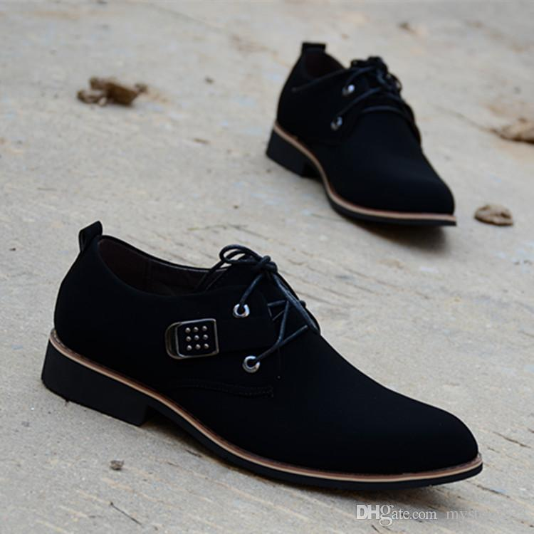 b582b360c2795 New Elegant Shoes Men Oxfords Dress Shoes Pointy Business Formal with  Frosted Wedding Man mocassin homme