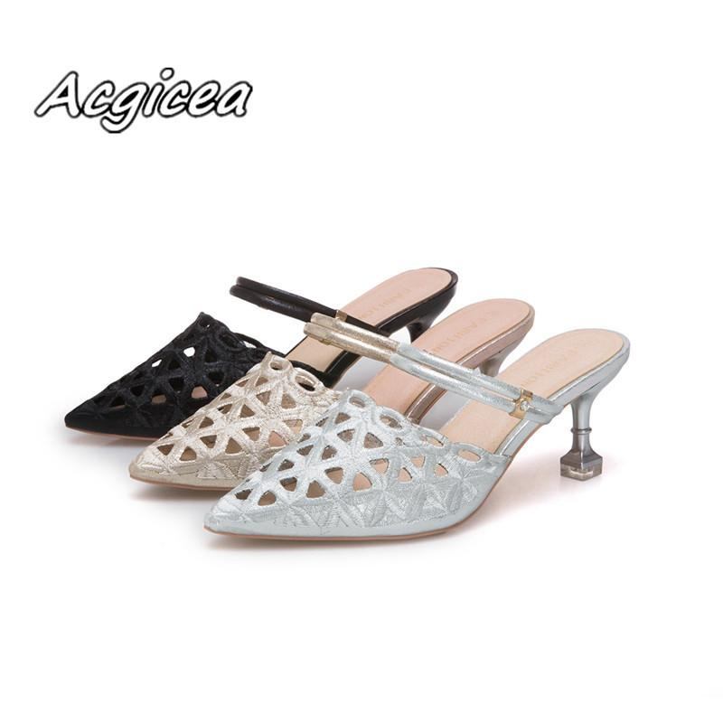 Designer Dress Shoes 2019 summer new fashion two wear slippers female pointed with hollowed out sand with half dragging low heel f038