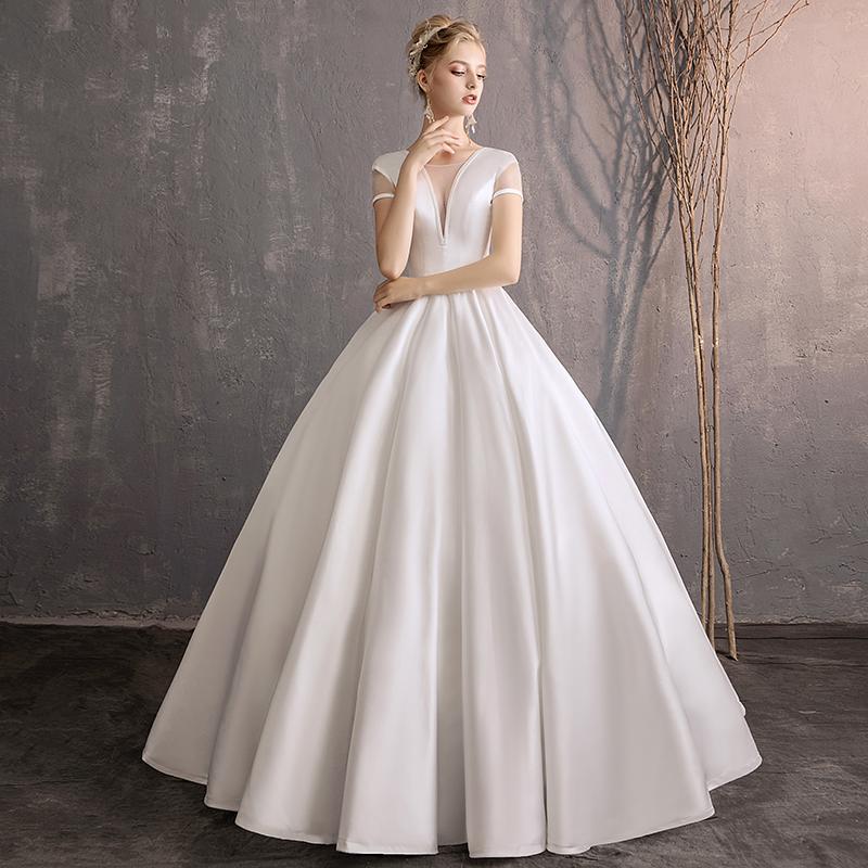 compre vestidos de novia de satén la novia coreana contrajo un hilo