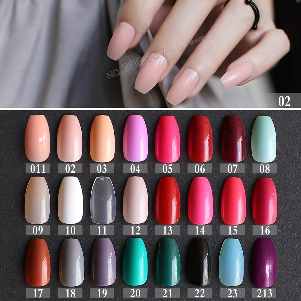 New Hot False Coffin Nails Rose Soft Pink Nude Red Brown Blue Fake