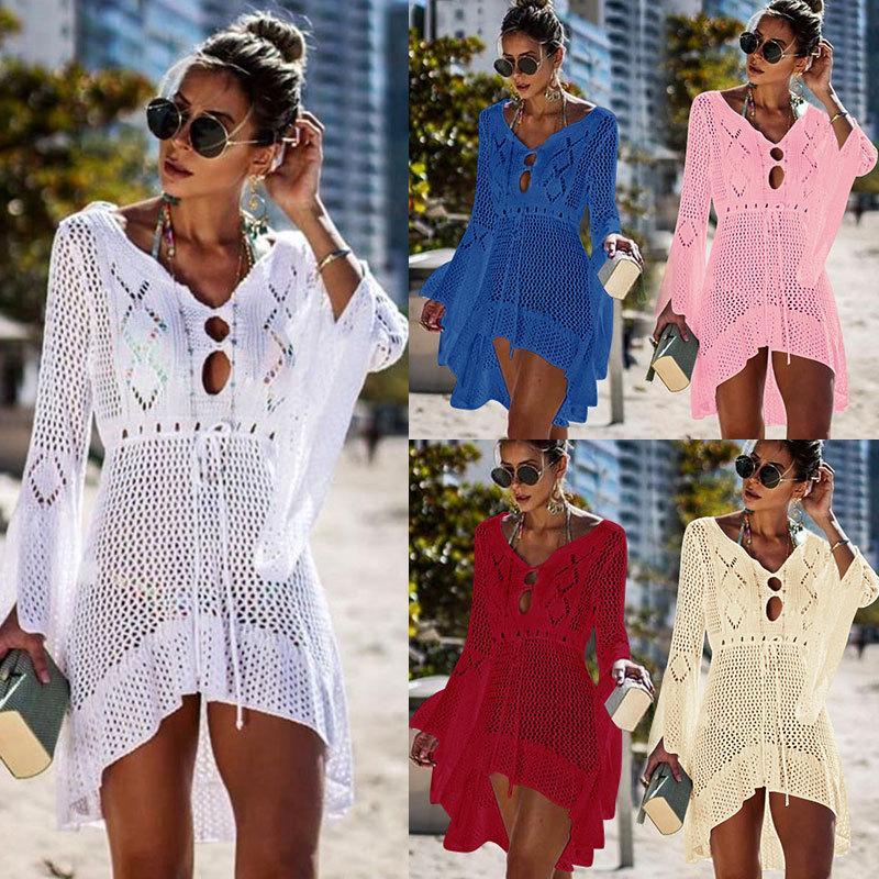 31deb117af 2019 New Sexy Cover Up Bikini Women Swimsuit Cover Up Beach Bathing Suit  Beach Wear Knitting Swimwear Mesh Beach Dress Tunic Robe From Tomchen1, ...