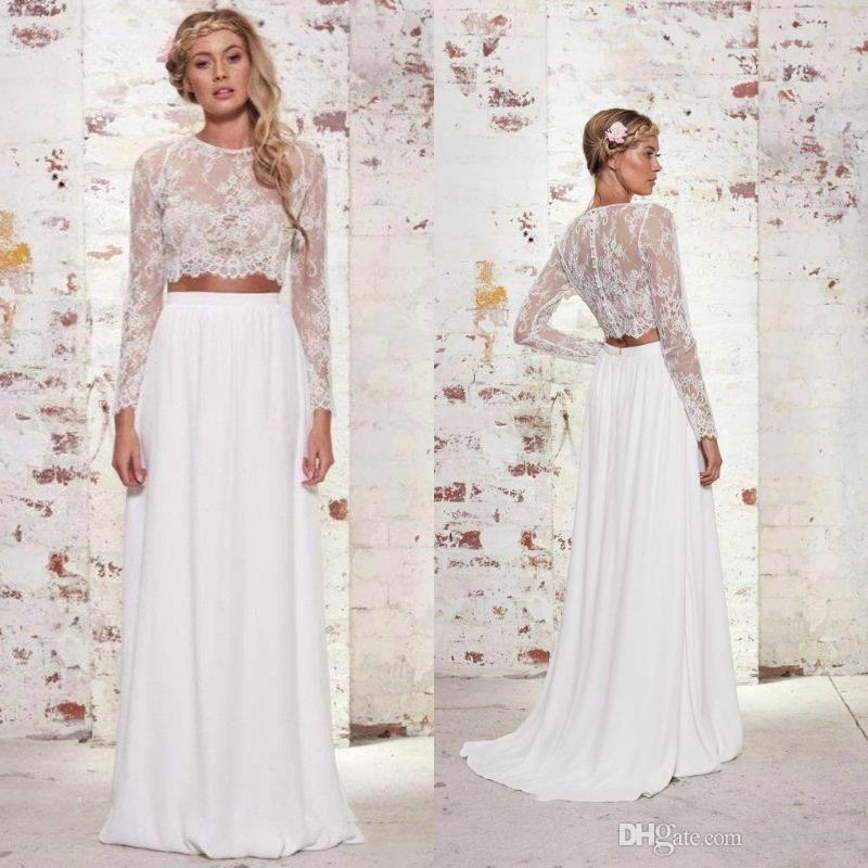 Cheap Two Pieces Bohemian Wedding Dresses Long High Quality Chiffon Lace Summer A Line Beach Boho Long Sleeves Bridal Party Gowns Plus Size