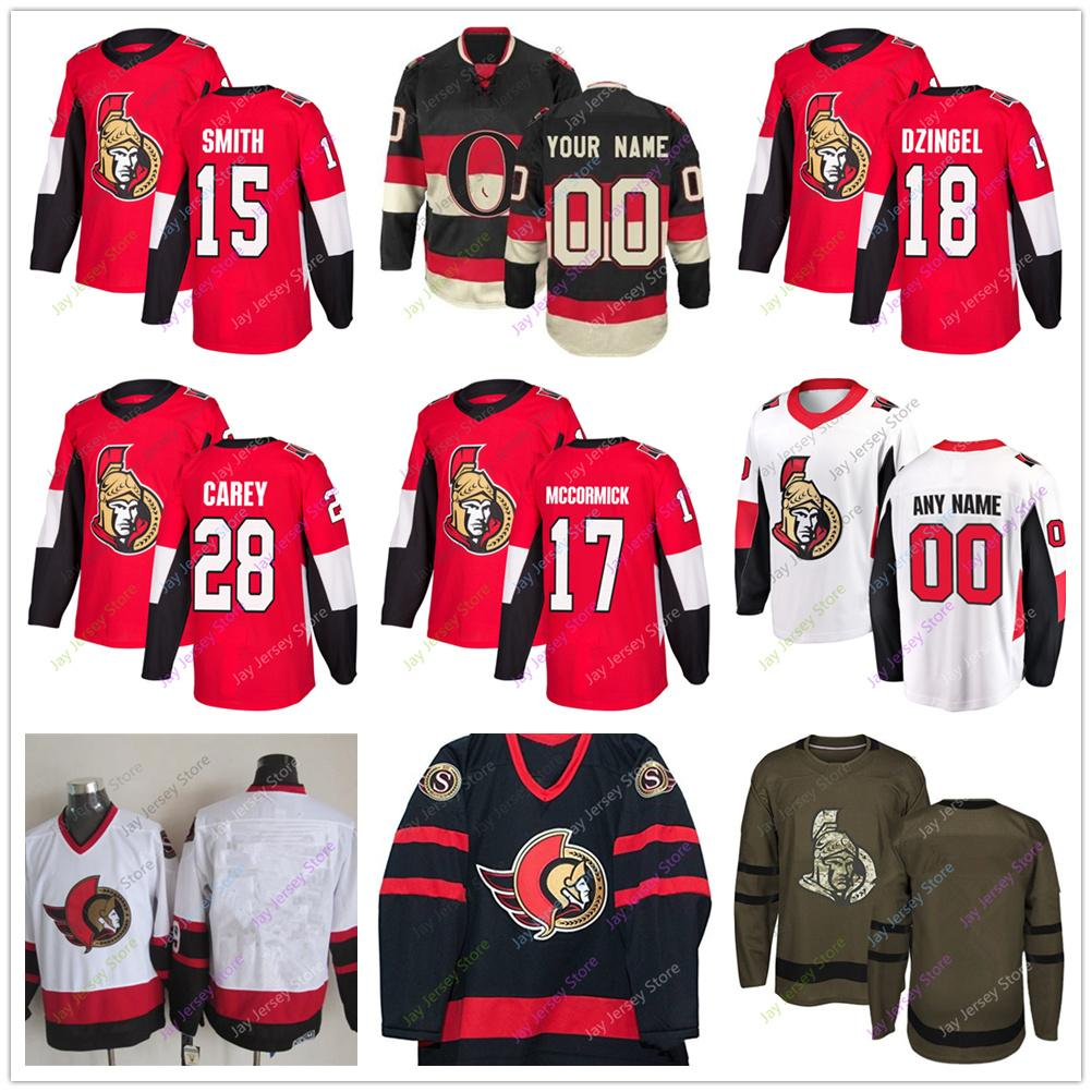 official photos a7add d5b91 Zack Smith Max McCormick Ryan Dzingel Paul Carey Jersey 2019 Men Women  Youth Kid Ottawa Senators Winter Classic C A Patch Salute to Service