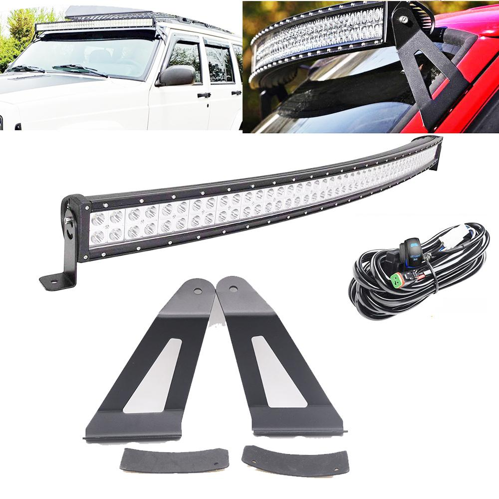 50inch 288w curved led light bar w/dt connector wiring harness kit +  mounting brackets for 1984 2001 jeep xj cherokee led bulb design led bulb  display from