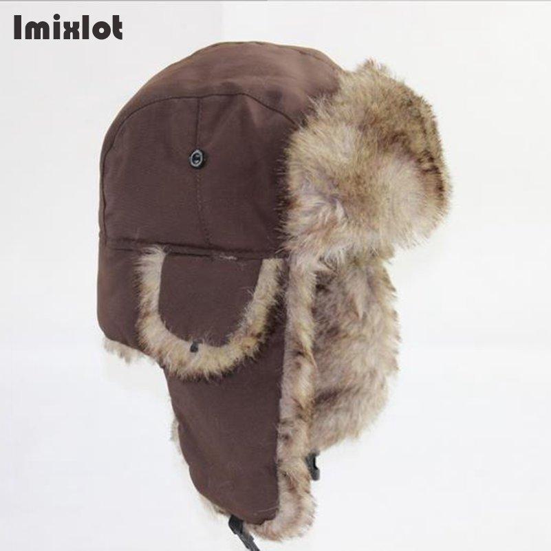 Mens Winter Hats Ear Flaps Bombe Ushanka Russian Hat Warm Solid Color Men  Cap Cozy Fake Fur Hero Caps Del Sombrero Hutting D19011503 Cap Fedora From  ... eb238898036