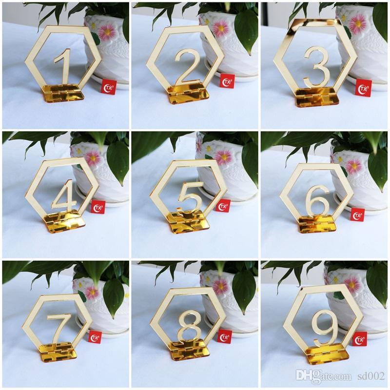 Originality 1-30 Place Holder Acrylic Mirror Surface Table Number Signs Hexagon Shape Seat Card For Wedding Birthday Party Decoration2 8xtE1