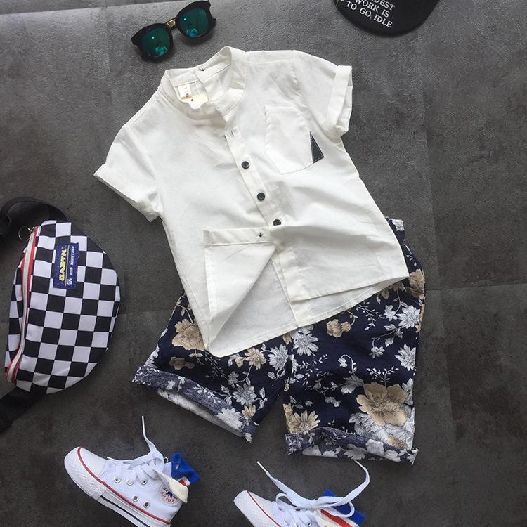 2pcs boys fashion clothing set kids summer white shirt and floral printed short set baby casual all match clothes children 2-7T