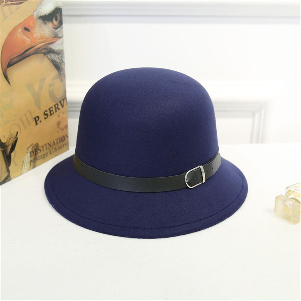 4b6e0b34d187b4 ISHOWTIENDA Winter Fedora Hat with women's Wide-Brimmed Metal Strap Felt  Men Fedora Hat Panama Vintage Caps Chapeau Femme