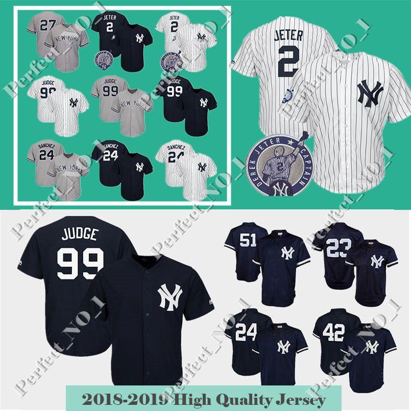 7e23936f9a9 Men s New York Jersey 2 Derek Jeter 99 Aaron Judge Baseball Jersey ...