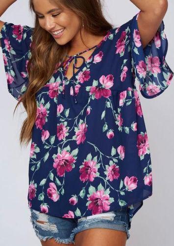 e546f1489ccc4d 2019 Women Ladies Summer Blouses Chiffon Short Sleeve Casual Shirt V Neck  Print Short Sleeve Tops Blouse Women Clothes From Linql01, $9.73 |  DHgate.Com