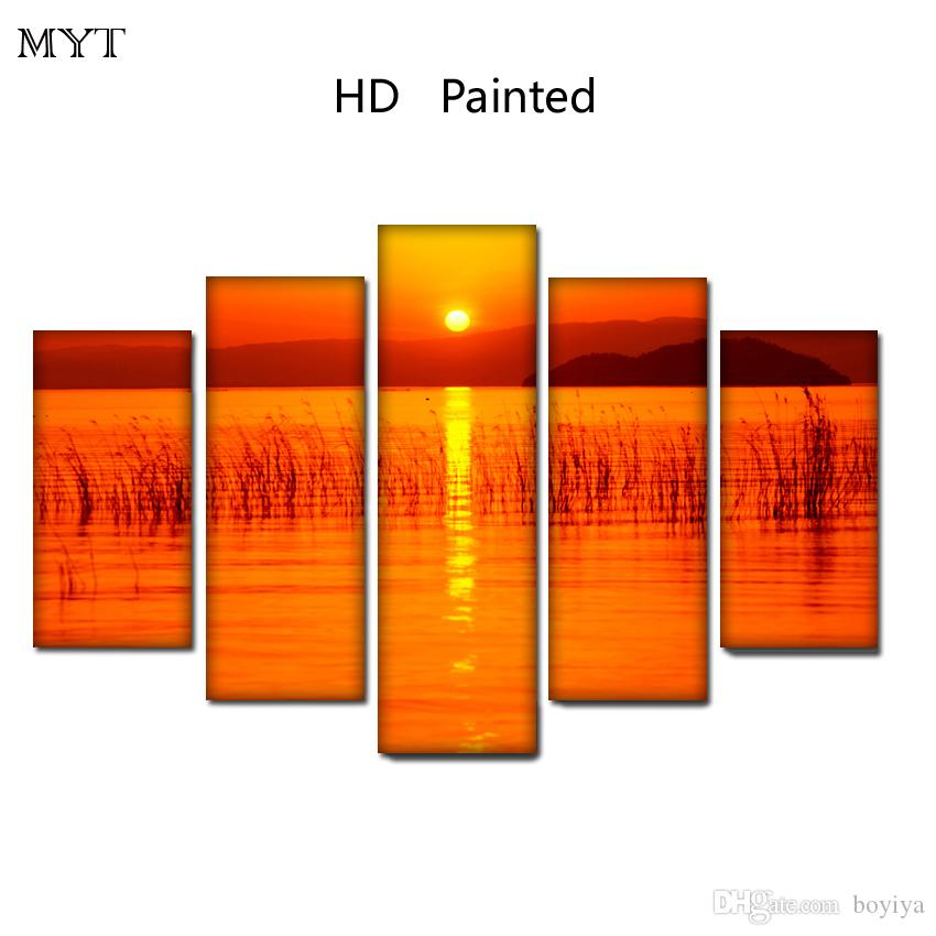 Free shipping HD Printed 5 Pieces High Quality Large size Canvas painting sunset on the sea scenery Wall Arts pictures Home Decor