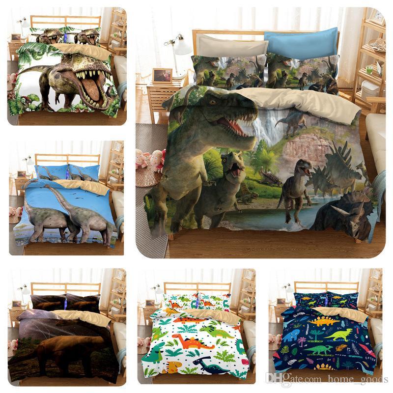 Jurassic Park 3D Dinosaur bedding Sets Boys Children Bedclothes Duvet Cover  pillowcase sets Single Double Queen Super King for AU US EU Size