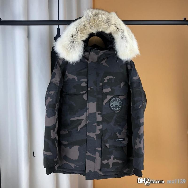 3785f62de GOOSE brand 2018 Fashion Winter Jacket Men and women lovers Parka Hood  Thick Long White Duck Down Jackets Casual Coat Camouflage Real Fur Co