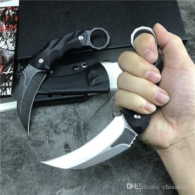 Promotion Karambit Fixed Blade Claw Knife D2 Stone Wash Blade Black G10 Handle Survival Tactical Knives With Kydex