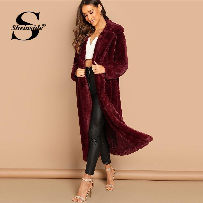 8dfff2ac7b Sheinside Burgundy Coats And Jackets Women Open Front Solid Long Coat  Winter Jacket Womens Faux Fur Teddy Outerwear & Coats Fur Leather Jacket  Jacket Styles ...
