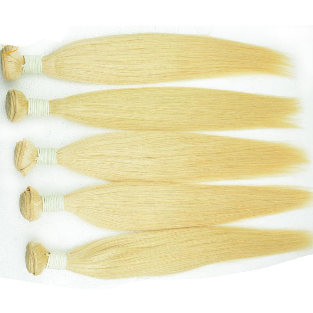 613 Blonde Peruvian human hair weft 3/4/5 bundles silk straight virgin hair extensions bleached cuticle 100% raw blond remy hair weaves 10A
