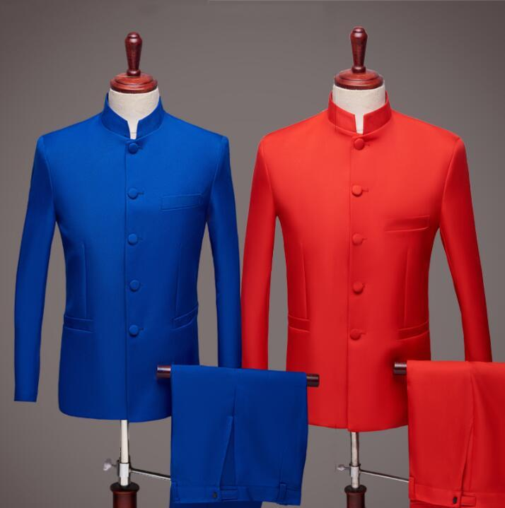 wedding Chinese tunic suit men blazer boys prom mariage suits fashion slim masculino latest coat pant designs chorus red blue