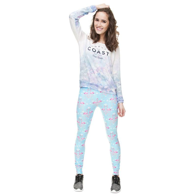 57249c3d6135f Lady Leggings Pink Flamingo Sky Blue 3D Print Sportwear Yoga Wear ...