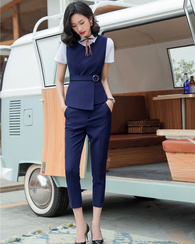 Formal Women Business Suits With Pant And Vest Set Work Wear Ladies Blue Waistcoat Office Uniform Styles Pant Suits