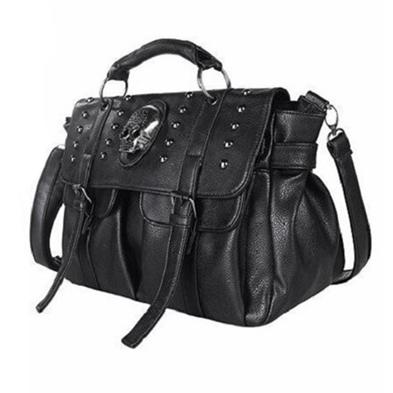 03d9b75327d971 Shoulder Bag Lady Fashion Bag Designer Punk Skull Rivet All-Match Women's  Handbag Black Big Tote