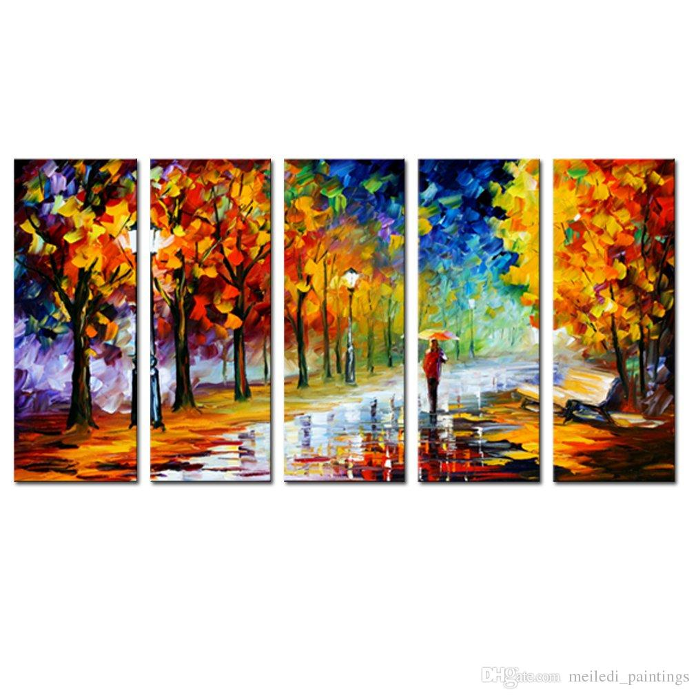 Canvas Wall Art Autumn Beautiful Trees Landscape Painting Knife Prints Canvas Contemporary Artwork for Home Decor