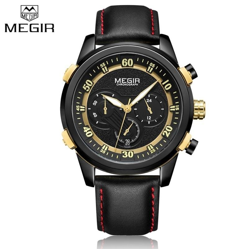 2ecca1e741b 2018 Top Luxury Brand MEGIR Quartz Watch Men Military Chronograph Black  Gold Clock Men Sports Leather Strap Casual Wristwatches Watches Buy Online  Buying ...