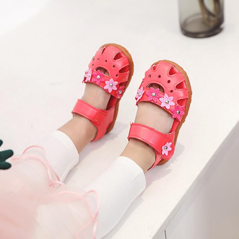 2019 Summer Baby Girls Shoes Baby Sandals Girls Summer Beach Shoes Kids Sandals Princess Roman Style Flower