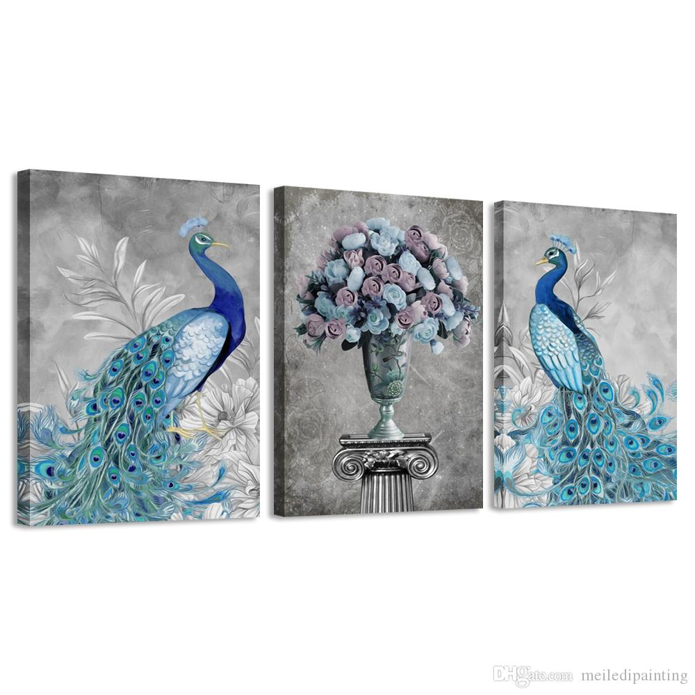 Amosi Art Canvas Wall Art Retro Peacock Pictures Paintings For Bedroom Home Decor 3 Piece Blue Animal Prints Stretched Framed Giclee Artwork