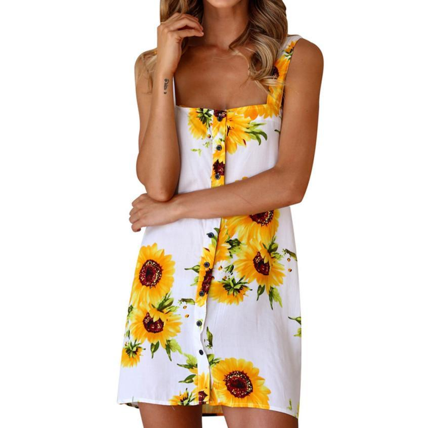 85bdfde9e Womens Sunflower Printed Dress Ladies Summer Sleeveless Button Floral Print  Dresses Spaghetti Strap Beach Dress Ladies Dress Collection Green Junior  Dresses ...