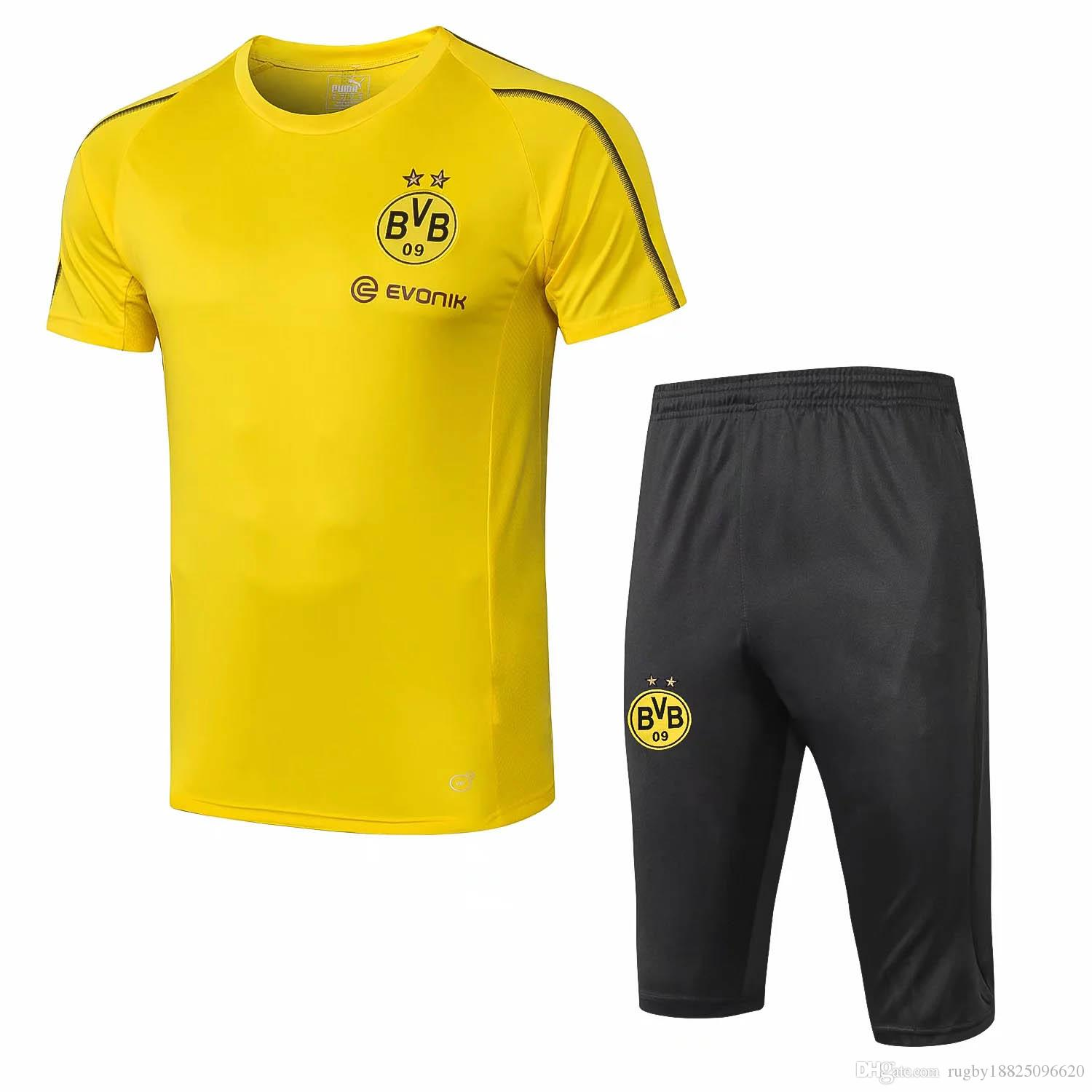 faaf21a17 2019 Top Quality 18 19 Dortmund Shrot Sleeve Tracksuit Kit Man United  Football Shirt Rome Training Suit Madrid Jerseys Maillot De Foot From  Rugby18825096620 ...
