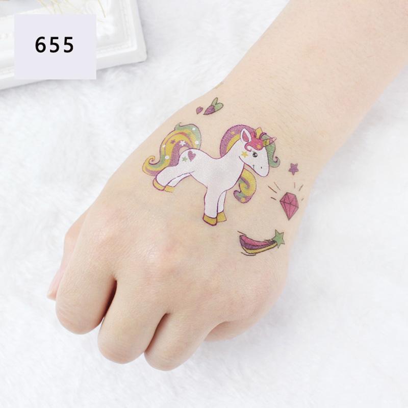 Unicorn Temporary Tattoo Sticker Cartoon Star moon Cloud Icecream Rainbow Horse Decals Women Girl Kid Body Hand Arm Art New