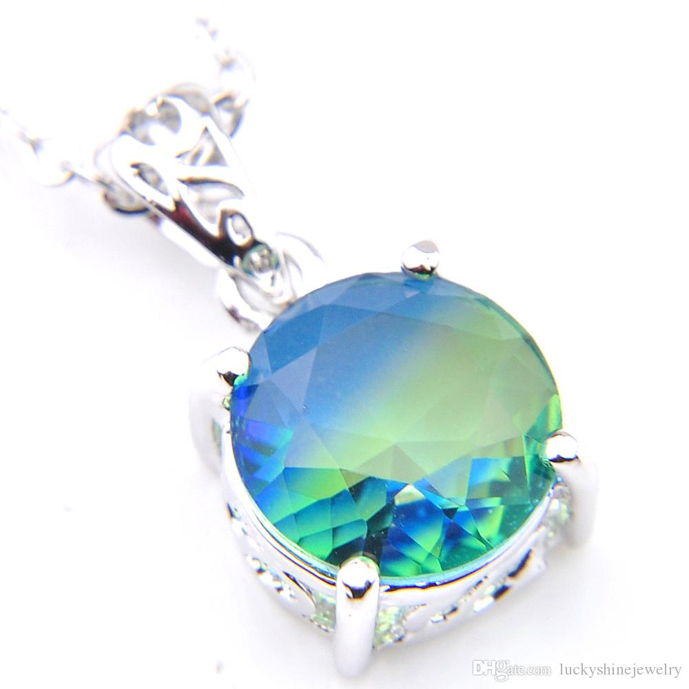 Dazzling Round Cut Bi-Colored Tourmaline Silver Necklace Pendants With chain