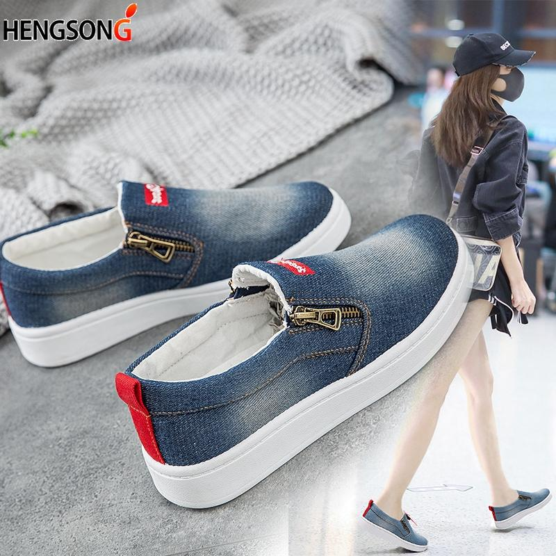 9a90c4aa9775 Canvas Shoes Women S Flats 2019 Women Denim Canvas Casual Shoes Spring  Autumn Flat Platforms Leisure Side Zippers Femme Shoe Sale Shoes Uk From  Memebiu