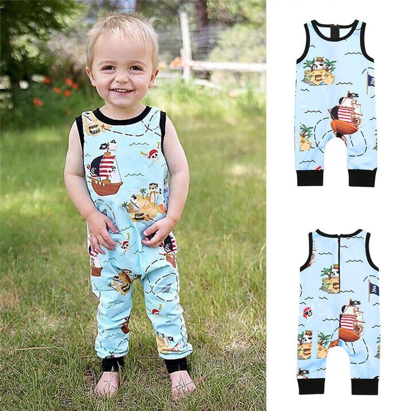 3d7cc45cd 2019 Summer Baby Clothes Toddler Infant Kids Baby Girl Boy Sleeveless  Cartoon Pirate Print Zipper Romper Jumpsuit Baby Romper JY26#F From  Textgoods01, ...