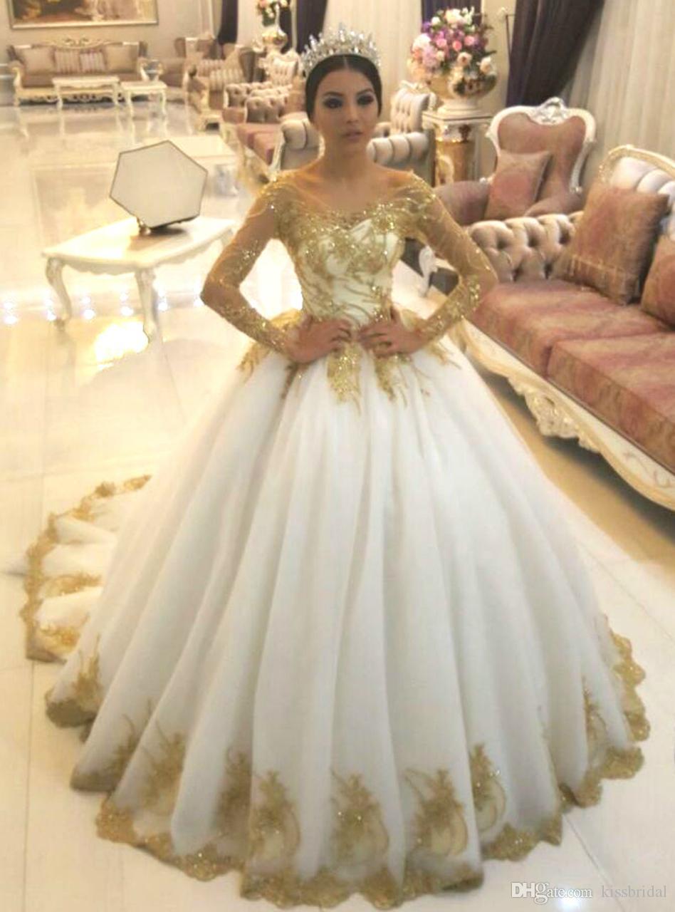 Gold Appliques Wedding Dresses Long Sleeve Sparkly V Neckline Lace Up Beaded Ball Gown Dress Bridal Gowns Vestido De Novia Princess: Gold Applique Wedding Dress At Reisefeber.org