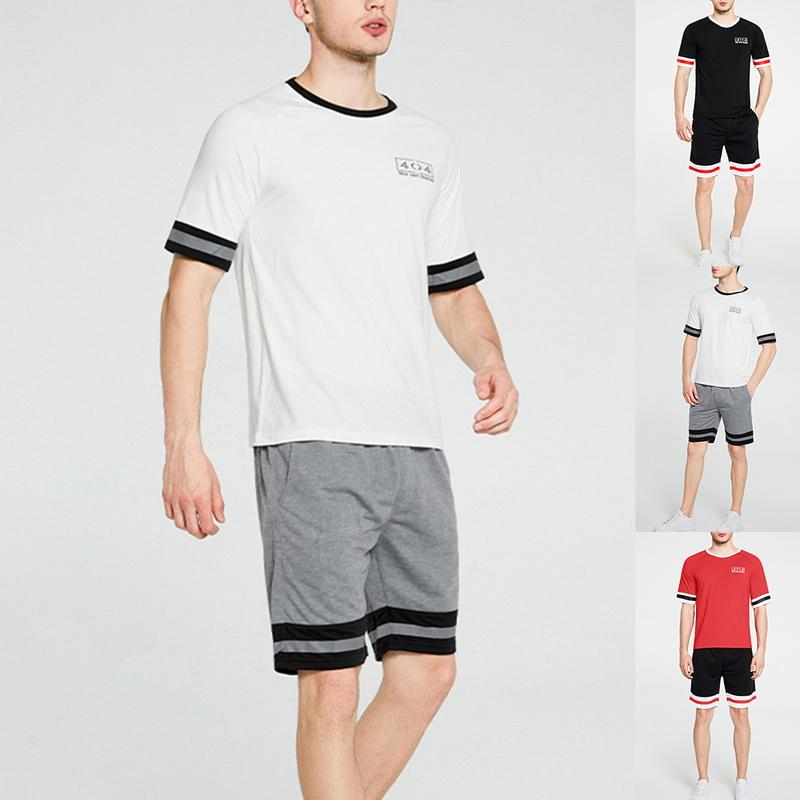 HEFLASHOR 2020 Fashion Men Casual Set Tracksuit 2PCS Summer Striped Short Sleeve T-shirts Shorts Sportswear Top Male Sportsuit