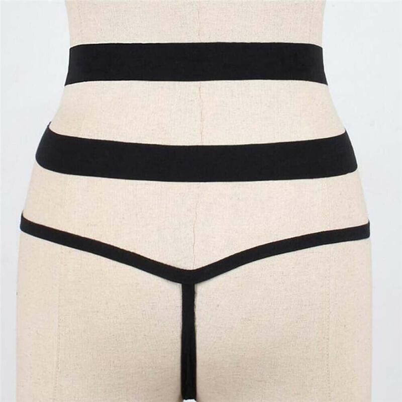 2020 Kadınlar Siyah Beyaz İki Parça ayırır Seksi Tangalar Bottoms Bandaj Hollow Yüzme G-String Mayo Brezilya bikinisi